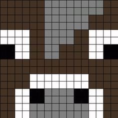 Minecraft Cow Face Perler Bead Pattern