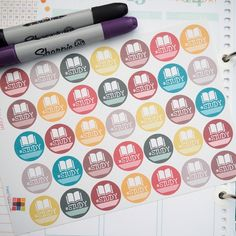 35 Study Sticker Planner // Perfect for Vertical Erin Condren Life Planner by FasyShop on Etsy