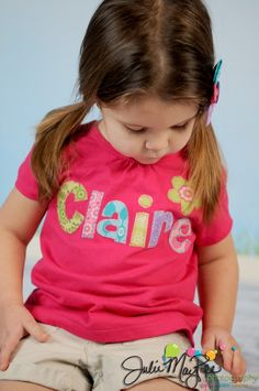 Custom Name Shirt - Girls shirt - Personalized for Baby Toddler Girl - Rainbow Applique with Flower Design. $22.00, via Etsy.