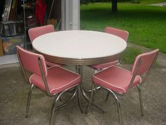 1950's chrome, white, and pink dinette set