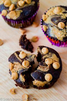 Skinny Chocolate Peanut Butter Swirl Cupcakes.