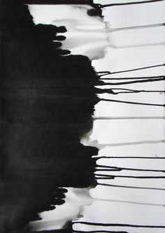 """A3 Modern Abstract Original Black and White Ink Wash Painting 11.7x16.5 """" Day and Night 857"""""""