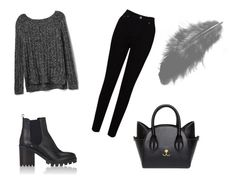 """""""Black"""" by leylale ❤ liked on Polyvore featuring EAST, Gap, Barneys New York, black and polyvorefashion"""