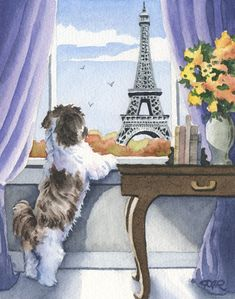 SHIH TZU In Paris Dog Signed Art Print by Artist by k9artgallery ... it's my Chloe!!