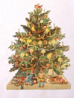 VICTORIAN GERMAN LG CHRISTMAS DECORATED TREE W TOYS DOLLS SCRAPS DIE CUT EF 5050