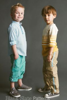 Coastal Cargos pdf sewing pattern from Blank Slate Patterns Boys, bias trim, fly, lots of pockets, roll up cuffs. Size 18mos - 8yrs