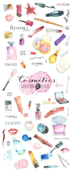 Makeup Cosmetics Watercolour. 57 Hand painted clipart, diy elements, fashion, invite, beauty, eyeshadow, lipstick, perfume, nail polish