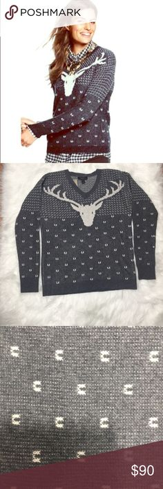 J Crew Vintage Reindeer Holiday Wool Sweater Sz SM New J. Crew Vintage Reindeer Holiday Wool Sweater NWT One of our favorite things about winter is après-ski style, even when we're nowhere near the slopes. Double knit so it's extra plush, this intarsia sweater goes best with a mug of hot cocoa. Relaxed fit. Hits at the hips. Lambswool in a 5-gauge knit. Long sleeves. Rib trim at neck, cuffs and hem. J. Crew Sweaters V-Necks