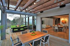 Heavenly Greenhouse Design with Wooden Deck: Open Timber Grid Details Over The Terrace Ceiling