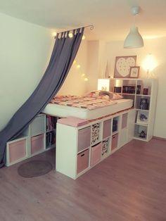 Ein Hochbett aus Ikea Kallax Regalen A loft bed from Ikea Kallax shelves # Nursery # furniture ideas # furniture # boy # girl Cute Bedroom Ideas, Girl Bedroom Designs, Room Ideas Bedroom, Awesome Bedrooms, Cool Rooms, Ikea Room Ideas, Dorm Room Designs, Design Bedroom, Ikea Kallax Shelf