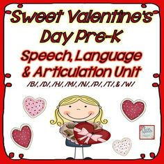 """This MEGA packet (174 pages) called, """"Sweet Valentines Day Pre-K Speech, Language and Articulation Unit for the /B/, /D/, /H/, /M/, /N/, /P/, /T/, and /W/ sounds,"""" is ready for your immediate download and use with your sweet students today! Please see the preview for a complete description of the contents and to preview several pages."""