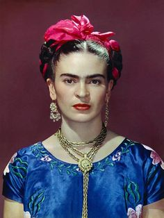 Frida with Blue Satin Blouse, New York(1939) by Nickolas Muray