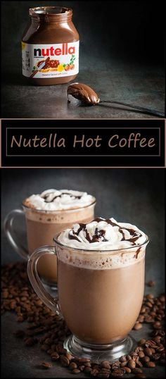 Nutella Hot Coffee - Coffee Recipes - A-Z Finance Plan (For Life) Coffee Drink Recipes, Coffee Drinks, Smoothies Coffee, Hot Coffee, Iced Coffee, Coffee Time, Coffee Shops, Coffee Lovers, Nutella Recipes