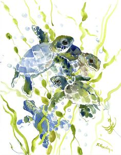 Turtle painting - baby sea turtles in the sea by suren nersisyan. Baby Sea Turtles, Cute Turtles, Canvas Art, Canvas Prints, Art Prints, Sea Turtle Wallpaper, Turtle Love, Watercolor Art, Creations