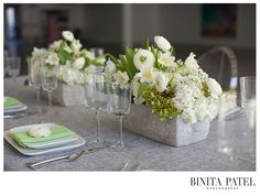 Grey Farmers Weave linen with Calvin Glassware, Hammered Flatware, Rectangular Coupe china by Rentals Unlimited.