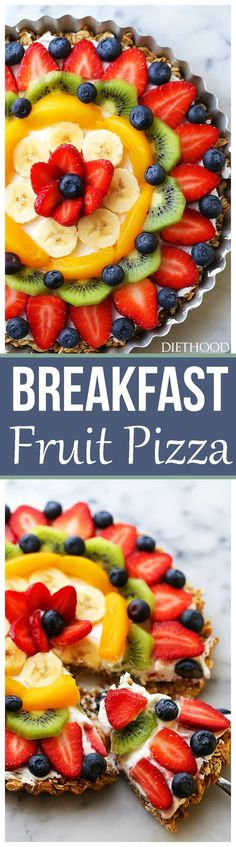 Healthy Breakfast Fruit Pizza Recipe ~ smooth, lightened-up cream cheese frosting and beautiful fresh fruit sit atop of an incredibly delicious, sweet oatmeal crust! Breakfast Fruit Pizza Recipe, Breakfast And Brunch, Breakfast Dishes, Best Breakfast, Healthy Breakfast Recipes, Brunch Recipes, Breakfast Pizza, Healthy Pizza, Breakfast Ideas