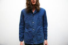 French 1940s Indigo Workers Jacket Molinel by ThePenduline on Etsy, €85.00