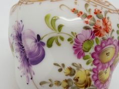 Antique Dresden Hand Painted Porcelain Cup & Saucer Flowers & Gilding ~A 11