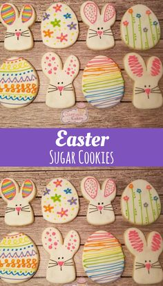 """Colorful Easter Bunny and Eggs Decorated Sugar Cookies -3"""" 1 dozen #affiliate"""