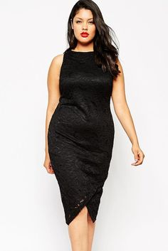 An elegant yet eye-catching style, this plus size dress from HisandHerFashion shapes a slim figure. With its sleeveless, high neck, figure-skimming cut, and sensual black lace with contrasting back zi