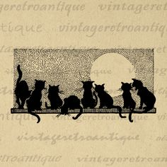 Printable Cats Graphic Image Cat Silhouette Digital Download Illustration Vintage Clip Art Jpg Png Eps  HQ 300dpi No.4105 @ vintageretroantique.com #DigitalArt #Printable #Art #VintageRetroAntique #Digital #Clipart #Download