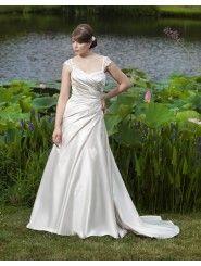 Sweetheart Side Draped Bodice A-line Wedding Dress