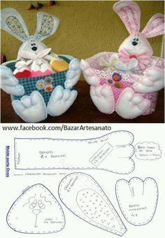 Bunny basket w/ free pattern Bunny Crafts, Felt Crafts, Easter Crafts, Diy And Crafts, Felt Christmas, Christmas Crafts, Felt Bunny, Diy Ostern, Easter Projects