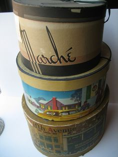 Vintage hat boxes, many by Preserve History, via Flickr