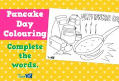 This Pancake Day colouring activity provides the first letter of each ingredient, so students can complete each word. Use our Pancake Day vocabulary flashcards to assist in completion of this activity. Pancake Day Vocabulary, Happy Pancake Day, Classroom Games, Color Activities, Event Calendar, Lent, Teacher Resources, Pancakes, Religion