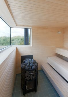 Summer house on stilts by Mats Fahlander nestles into a Swedish fjord Swedish Sauna, Outdoor Sauna, Sauna Room, House On Stilts, Wood Architecture, Saunas, Grand Designs, Beach Cottages, New Homes