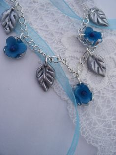 Flowers Necklace ,  Blue and Silver Flowers ,  Silver Leaves,  Silver chain, original designs,   natures best, flora fauna, EtsyGift,