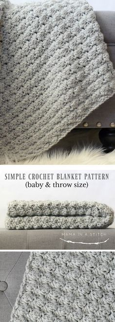 Easy Crochet Afghans I love the simplicity of this beautiful crochet blanket. Free pattern for a baby afghan or throw size. Crochet Afghans, Easy Crochet Blanket, Crochet For Beginners Blanket, Crochet Blankets, Crochet Baby Blanket Patterns, Crotchet Baby Blanket, Easy Baby Blanket, Afghan Blanket, Throw Blankets