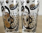 Vintage Georges Briard Highball Glasses Rare Forbidden Fruit Pattern B  by GrowingOldVintage on Etsy