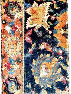 17th c. Persian Safavid rug fragment Beautiful pattern & vivid colors