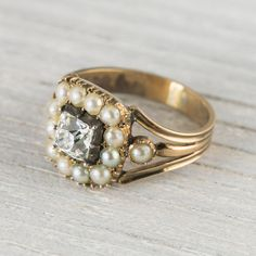 Antique Victorian .90 Carat Pearl & Diamond Gold Engagement Ring