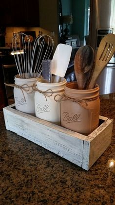This is the perfect way to display your kitchen utensils in a charming, fun way! These make perfect housewarming gifts, and Im happy to giftwrap as well! I can do any color jars or box, and can customize the writing as well. This piece includes the 3 wide mouth quart jars and the box. Both can be customized to your liking! All jars have a coat of polyurethane to make them waterproof. Perfectly safe for handwashing