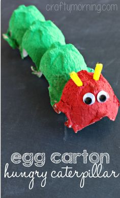 """Egg Carton Hungry Caterpillar kids craft! This is a fun art project for kids to make while reading """"The Very Hungry Caterpillar"""" by Eric Carle."""