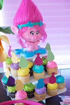 Trolls  cupcake toppers  Trolls hair  set of 12