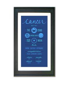 CANCER. Zodiac Print Poster Illustration of Birth by ZodiacZone