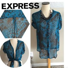 Teal & Black sheer button up blouse s/s snakeskin Express sheer snakeskin print blue & black blouse. Button down, loose fit, size small Express Tops Blouses