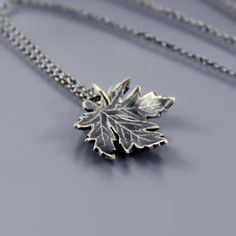 Sterling Silver Maple Leaf Necklace by Lisa Hopkins Design