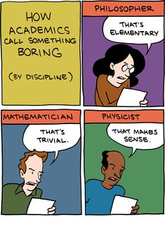 """how academics call something boring, by discipline"""