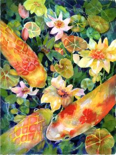 Looking for Lunch 2 - watercolor print (Koi fish) by ann nicholson  buy her prints at fineartamerica.com Koi Art, Fish Art, Watercolor Animals, Watercolor Print, Pretty Art, Cute Art, Zentangle, Mediums Of Art, China Painting