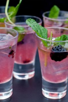Refreshing pink cocktails dressed up with blackberries and mint. #BrightPink
