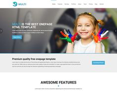 The beginning of multipurpose theme era. Multi goal is to help you build unique and modern website fast, easy and with the lowest cost possible. This responsive theme will be a great solution. Bootstrap Template, Html Templates, Page Template, Page Design, Web Design, Modern Website, Free Website Templates, Drupal, First Page