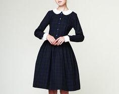 Peter pan collar dress 1950s wool dress Long sleeve dress 1950s plaid dress Ladies dresses Made to order dress XS M L XL 1X and Plus size