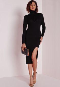 Rib Detail Polo Neck Dress Black Dress Up 2978ac022d74