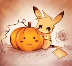 Pikachu and a pumpkin  https://www.facebook.com/pages/The-Nerd-Rave/113442648801172