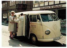 Image may have been reduced in size. Click image to view fullscreen. Volkswagen Transporter, Volkswagen Bus Camper, T1 Bus, Vw T1, Camper Van, Vintage Vans, Trailer, Busses, Ambulance