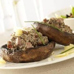 Stuffed Portobello Mushrooms Recipe - mine looked better than the picture. Also I browned the meat first, even though the recipe didn't specify whether or not to do that.  And the balsamic vinegar drizzle is a MUST.